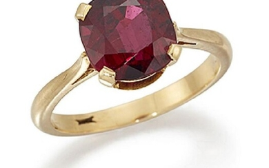 A ruby single stone ring, the cushion...