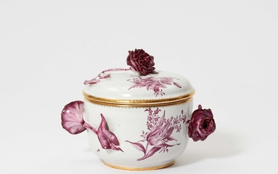 "A small Strasbourg faience tureen with purple bouquets ""au gabarit"""
