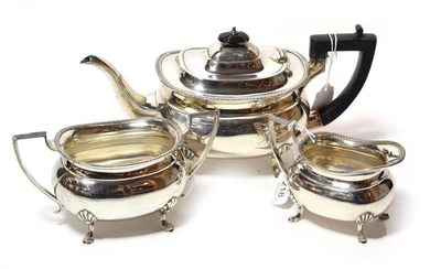A three-piece George V silver tea-service, by Cooper Brothers and...