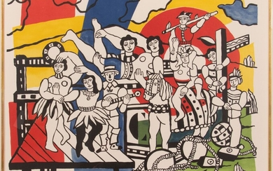"""AFTER FERNAND LEGER (FRENCH, 1881-55) LITHOGRAPH IN COLORS ON WOVE PAPER, 1953, H 20.75"""", W 24.5"""", LA GRANDE PARADE"""