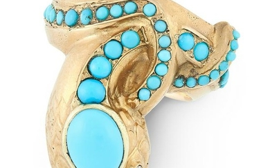 AN ANTIQUE TURQUOISE AND DIAMOND SNAKE RING, LATE 19TH