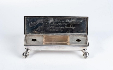 AN EDWARD VII SILVER INK STAND, THOMAS OF NEW BOND