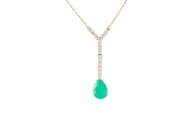 AN EMERALD AND DIAMOND PENDANT, mounted in 18ct yellow gold....