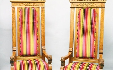 """AN IMPRESSIVE PAIR OF OAK """"THRONE"""" STYLE ARMCHAIRS,"""