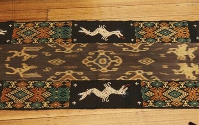 AN INDONESIAN WOVEN WALL HANGING EMBROIDERED WITH SMALL GLASS BEADS AND SHELLS (60 X 250 CM), LEONARD JOEL LOCAL DELIVERY SIZE: SMALL
