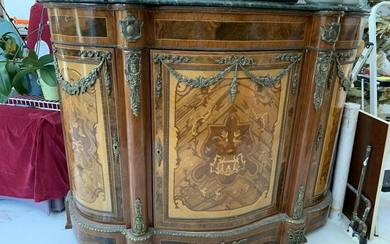 ANTIQUE FRENCH EMPIRE STYLE MARBLE TOP CONSOLE