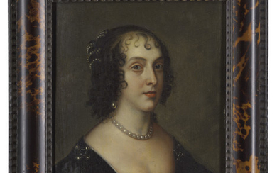 ATTRIBUTED TO THEODORE ROUSSEL (LONDON 1614 – 1689), AFTER SIR ANTHONY VAN DYCK, Portrait of Henrietta Maria, bust-length, in a black dress with pearls