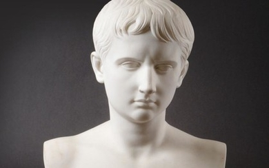 After the Antique: A Carved White Marble Bust of the...