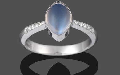 An 18 Carat White Gold Moonstone and Diamond Ring, the...