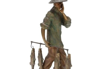 An Asian Bronze Fisher Sculpture on Hardstone Base