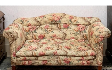 An Edwardian upholstered two seater settee, of small proport...