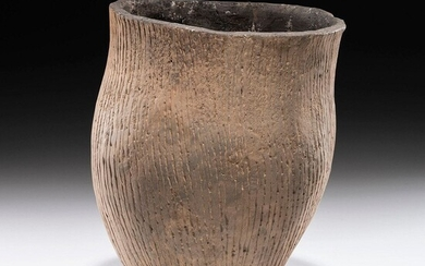 An Incised Hopewell Pottery Jar, 8-1/2 x 6-1/2 in.