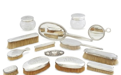 An assembled American sterling silver-mounted dressing set Various makers,...