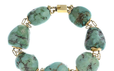 An early 20th century 18ct gold turquoise bracelet.