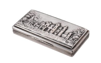 An early Victorian silver castle top snuff box Nathaniel Mills