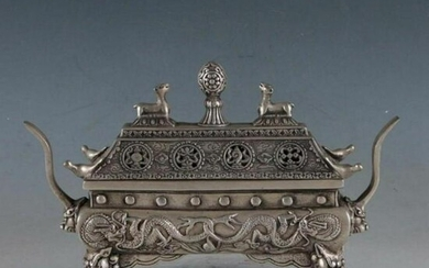 Antique Chinese old Tibet silver Dragon burner