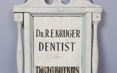 Antique Dentist & Doctor Hanging Wooden Painted Sign