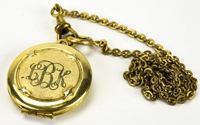 Antique Gold Locket Pendant on Watch Fob Chain