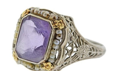 Art Deco 14k Gold Purple Stone Seed Pearl Filigree Ring