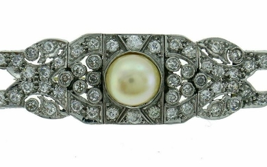 Art Deco Diamond Pearl Platinum CLIP Brooch Pin 1930s