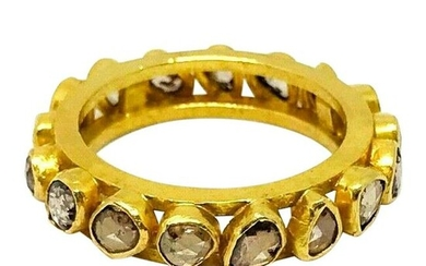Artisan 22 Karat Yellow Gold Rose Cut Diamond Band Ring