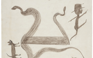 Bill Traylor (circa 1853-1949), Exciting Event with Snake, 1939-1942