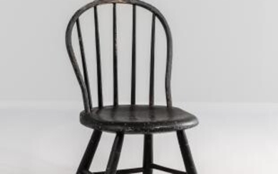 Black-painted Child's Bow-back Windsor Chair