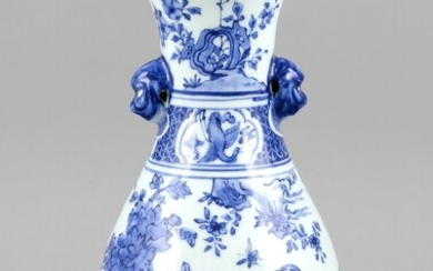 Blue and white vase, China, 19th/20th cent. Bulbous body with two applications in the form of heads at the neck (probably to mount a thin rope or a leather strap), underglaze blue decoration shows various birds, flowers and insects, frieze on the neck...