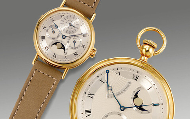 Breguet, Ref. Ref. 3430 (wristwatch) and ref. 1890 (pocket watch) A fine and attractive souscription set of yellow gold watches including a minute repeating wristwatch and a self-winding pocket watch with fitted presentation box, numbered 19 of a...