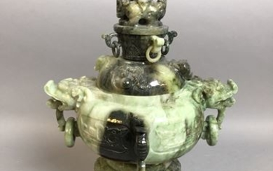 CHINA. Green hard stone perfume burner. H: 28...