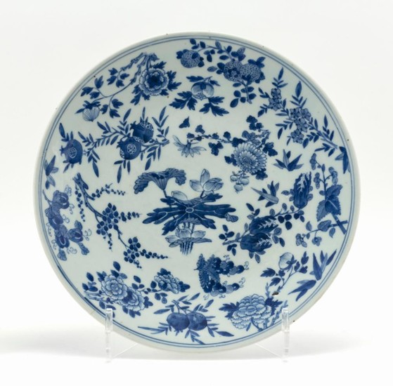 "CHINESE BLUE AND WHITE PORCELAIN CHARGER Decorated with lotus fruit and various flowers. Diameter 13.5""."