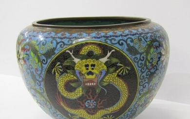 CHINESE CLOISONNE, yellow dragon design blue ground spherica...