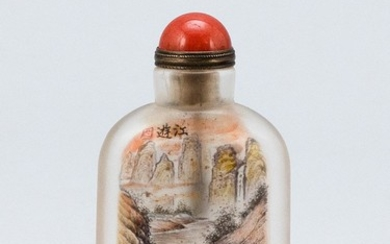 CHINESE INTERIOR-PAINTED GLASS SNUFF BOTTLE Rectangular. Obverse depicts boatmen in a river with a mountainous background, signed an...