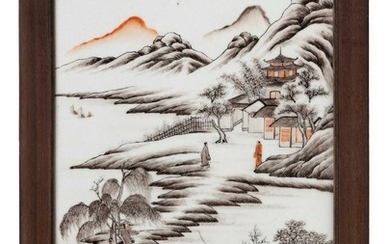 CHINESE PORCELAIN TILE PAINTING Depicts figures in various pursuits along a river surrounded by a temple and mountains. Seal marked...