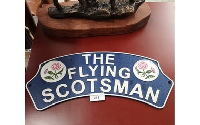 Cast iron the flying Scotsman plaque .