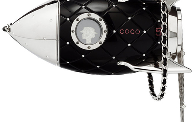 Chanel Limited Edition Black Lucite & Crystal Rocket Ship...