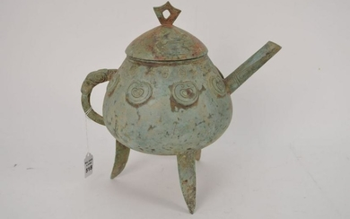 Chinese Bronze Pot with green patina. Condition: good.