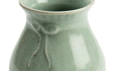 Chinese Celadon Green Porcelain with knot Vase.