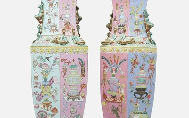 Chinese Export, large Famille Rose vases, pair