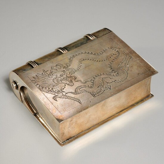 Chinese Export silver book-form box
