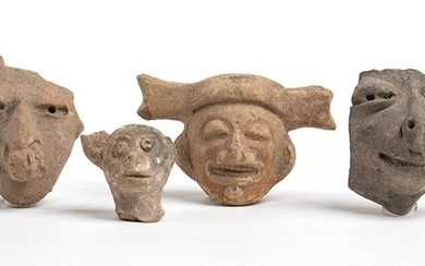 Collection of four Terracotta Heads, Mexico, Teotihuacan Culture, ca. AD...