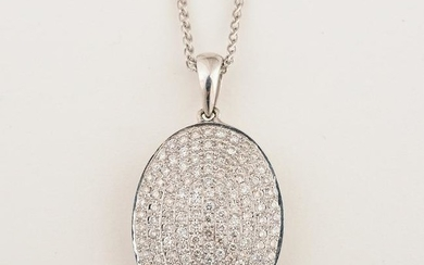 Diamond, 14k White Gold Pendant Necklace.