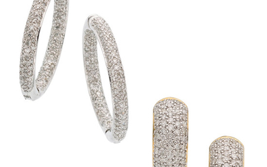 Diamond, Gold Earrings The lot includes a pair of...