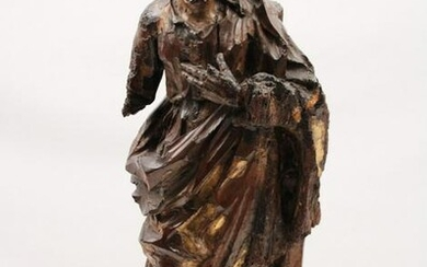 EARLY 18TH C. CARVED FIGURE OF A SAINT