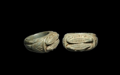 Egyptian Steatite Ring with Crocodiles
