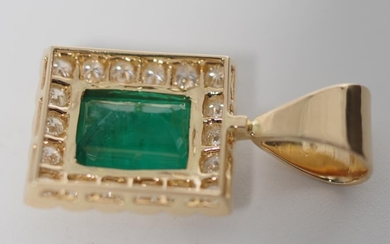 Emerald and diamond set 18ct yellow gold pendant approx 1x e...