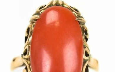 Estate 18kt Yellow Gold & Coral Cabochon Ring