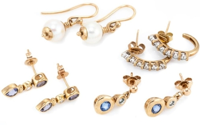 FOUR PAIRS OF 9CT GOLD STONE SET EARRINGS; a pair of half hoop studs set with 12 single cut diamonds, 2 pairs of drop studs set with...