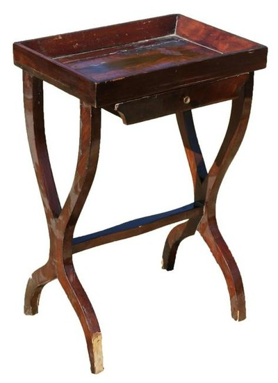 FRENCH EMPIRE CROTCH MAHOGANY SIDE TABLE