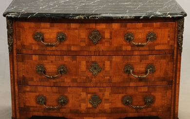 FRENCH MARBLE TOP 3 DRAWER CHEST, 20TH C.